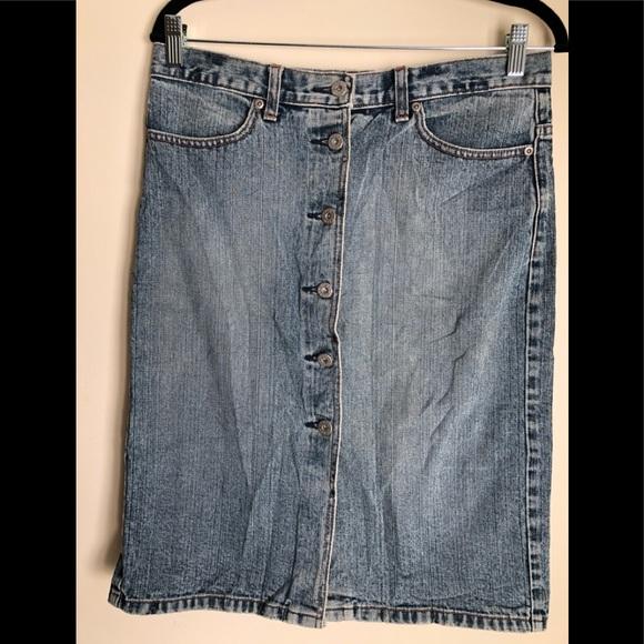J. Crew Dresses & Skirts - J Crew Button Front Denim Skirt 100% Cotton Size 8